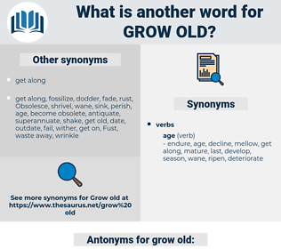 grow old, synonym grow old, another word for grow old, words like grow old, thesaurus grow old