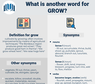 grow, synonym grow, another word for grow, words like grow, thesaurus grow