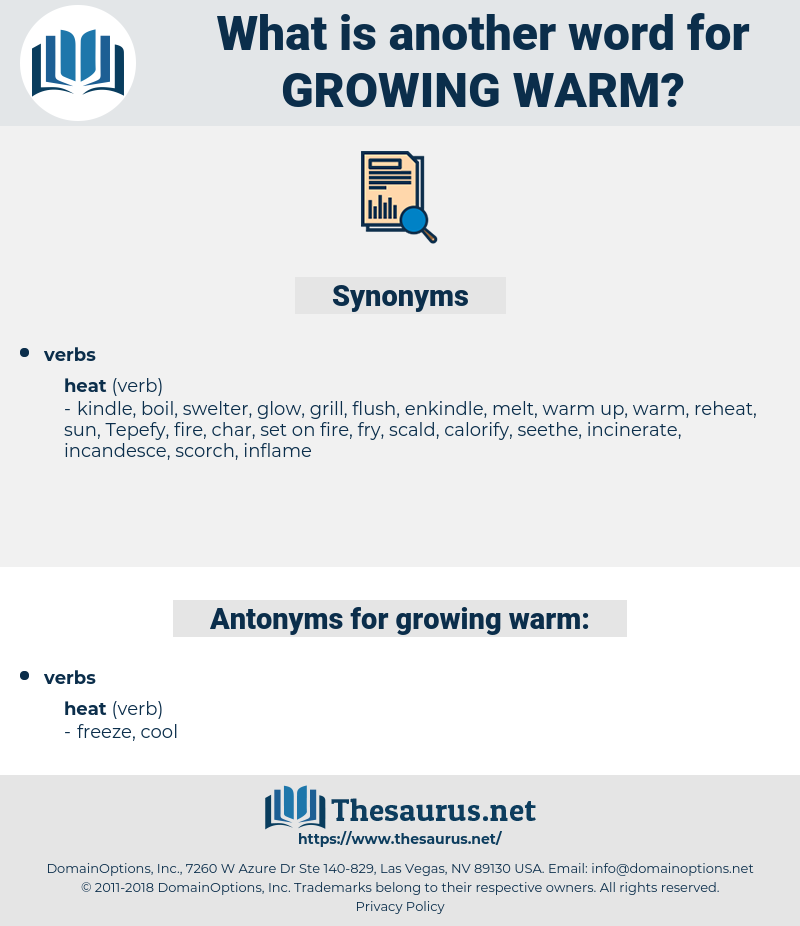 growing warm, synonym growing warm, another word for growing warm, words like growing warm, thesaurus growing warm