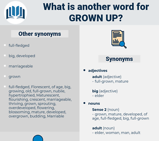 grown up, synonym grown up, another word for grown up, words like grown up, thesaurus grown up