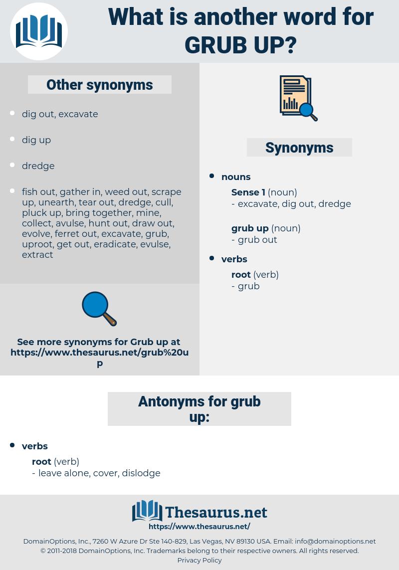 grub up, synonym grub up, another word for grub up, words like grub up, thesaurus grub up