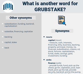 grubstake, synonym grubstake, another word for grubstake, words like grubstake, thesaurus grubstake