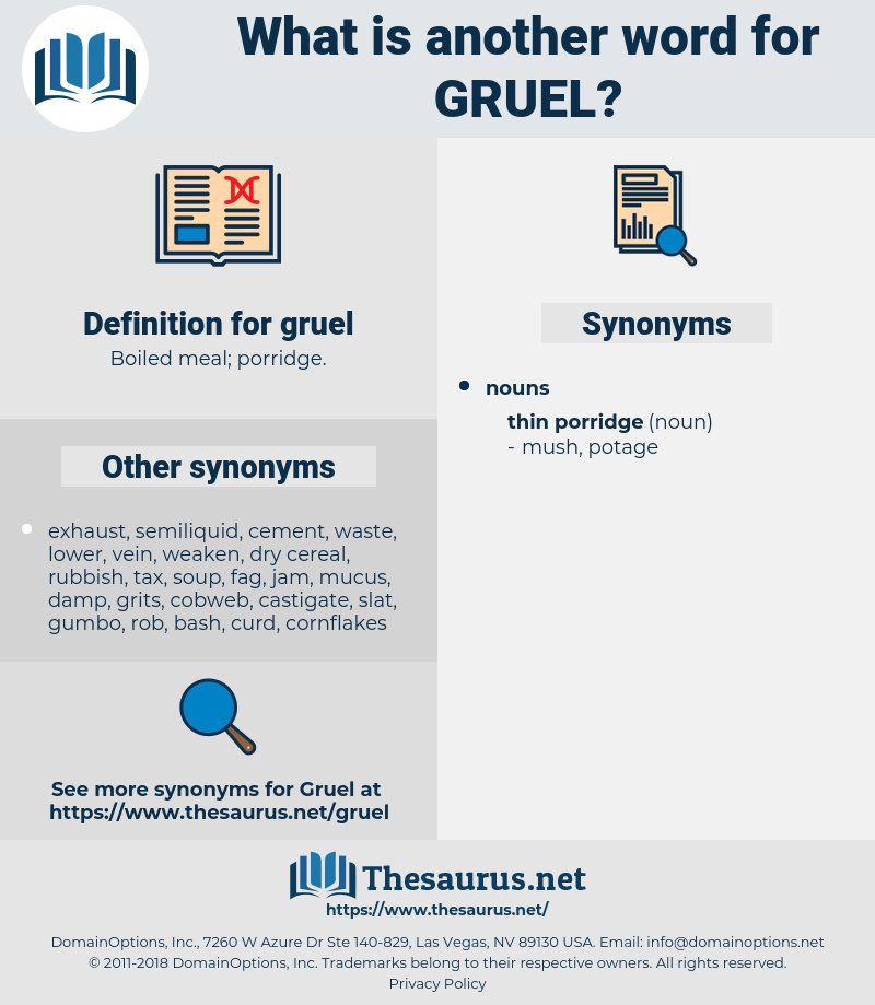 gruel, synonym gruel, another word for gruel, words like gruel, thesaurus gruel