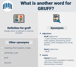 gruff, synonym gruff, another word for gruff, words like gruff, thesaurus gruff