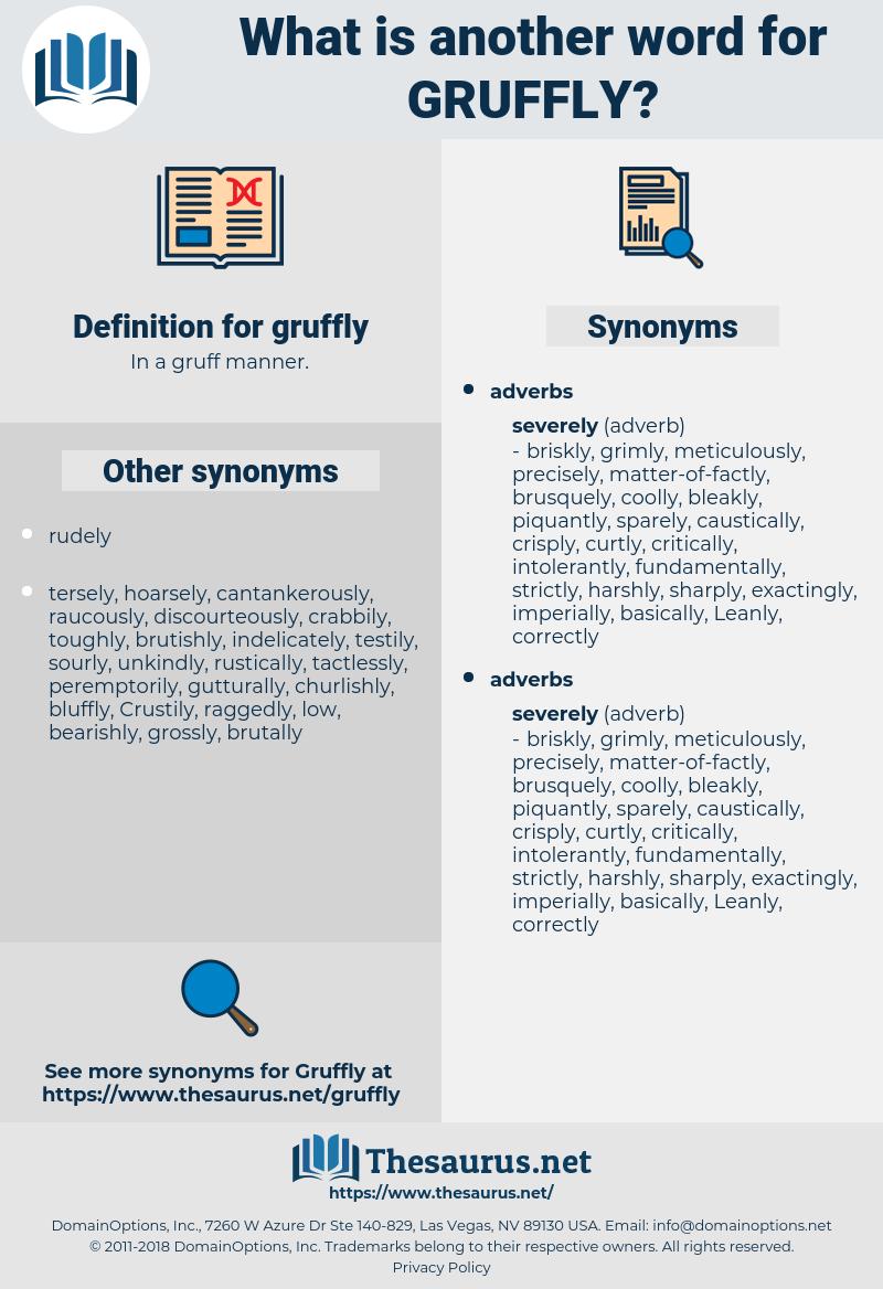 gruffly, synonym gruffly, another word for gruffly, words like gruffly, thesaurus gruffly