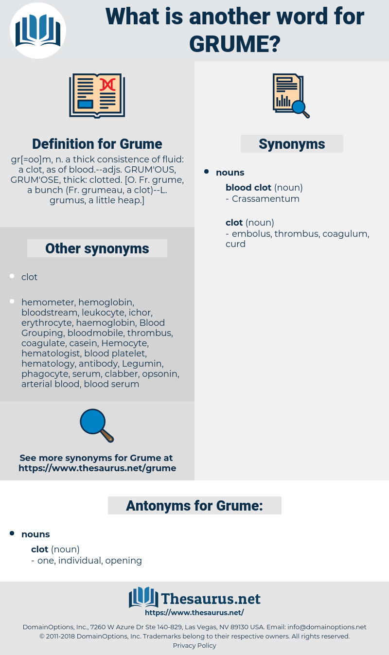 Grume, synonym Grume, another word for Grume, words like Grume, thesaurus Grume