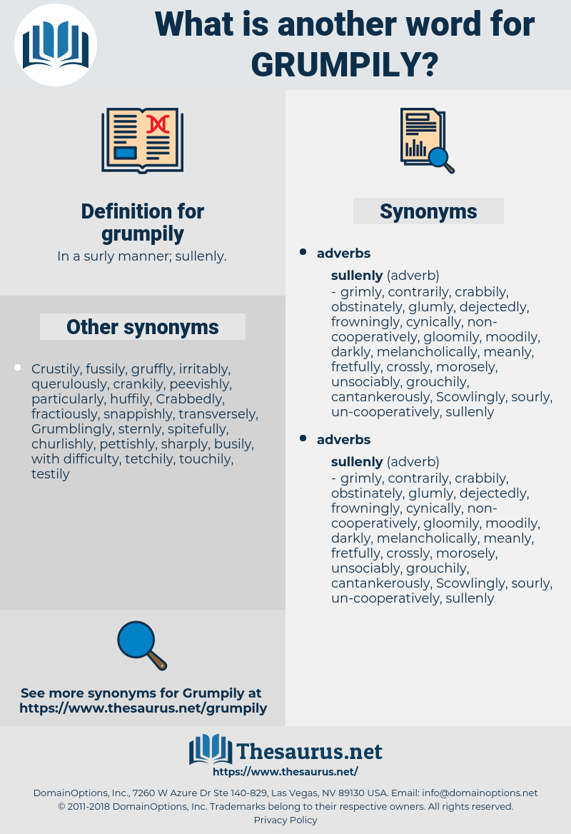 grumpily, synonym grumpily, another word for grumpily, words like grumpily, thesaurus grumpily