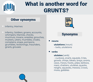 grunts, synonym grunts, another word for grunts, words like grunts, thesaurus grunts