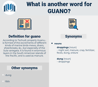 guano, synonym guano, another word for guano, words like guano, thesaurus guano