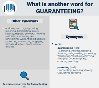 Guaranteeing, synonym Guaranteeing, another word for Guaranteeing, words like Guaranteeing, thesaurus Guaranteeing