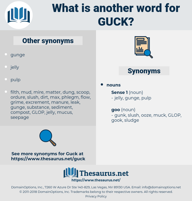 guck, synonym guck, another word for guck, words like guck, thesaurus guck