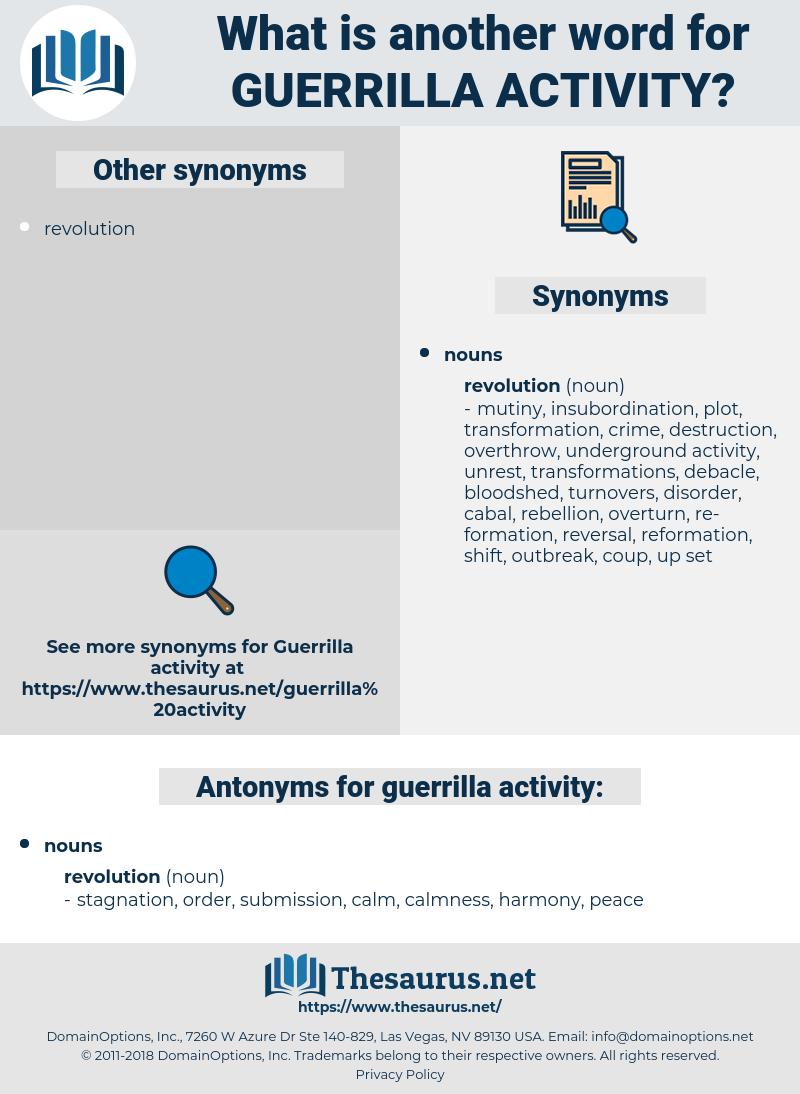 guerrilla activity, synonym guerrilla activity, another word for guerrilla activity, words like guerrilla activity, thesaurus guerrilla activity