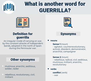 guerrilla, synonym guerrilla, another word for guerrilla, words like guerrilla, thesaurus guerrilla