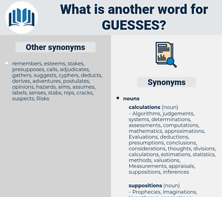 guesses, synonym guesses, another word for guesses, words like guesses, thesaurus guesses