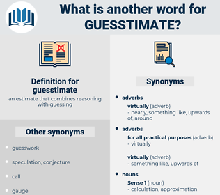 guesstimate, synonym guesstimate, another word for guesstimate, words like guesstimate, thesaurus guesstimate