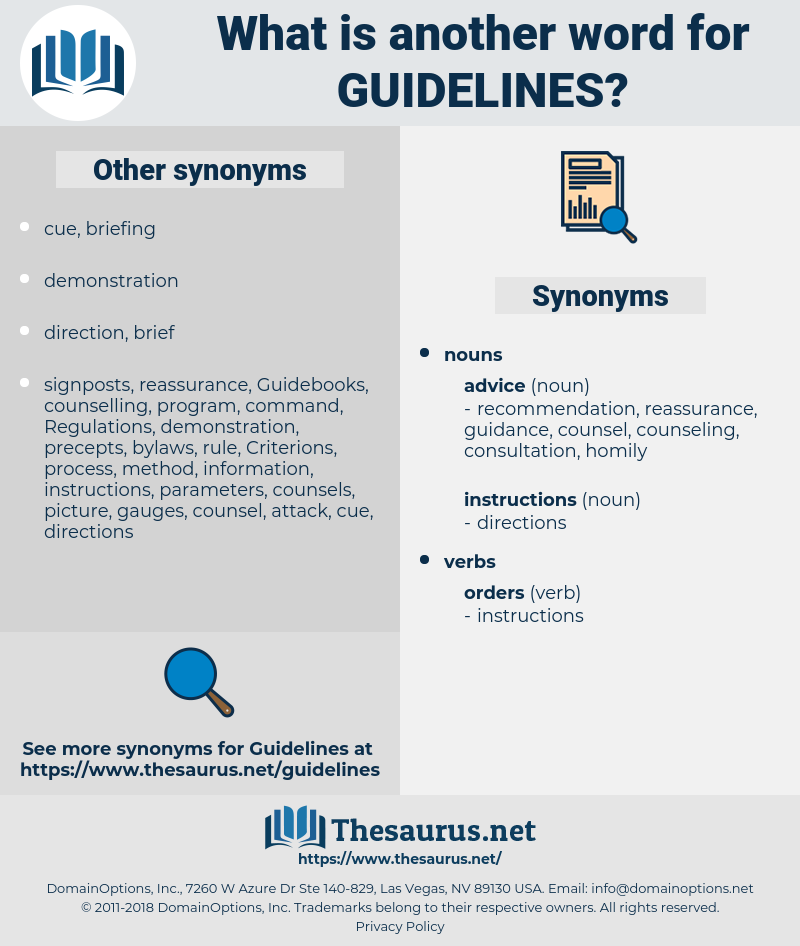 Guidelines, synonym Guidelines, another word for Guidelines, words like Guidelines, thesaurus Guidelines