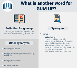 gum up, synonym gum up, another word for gum up, words like gum up, thesaurus gum up