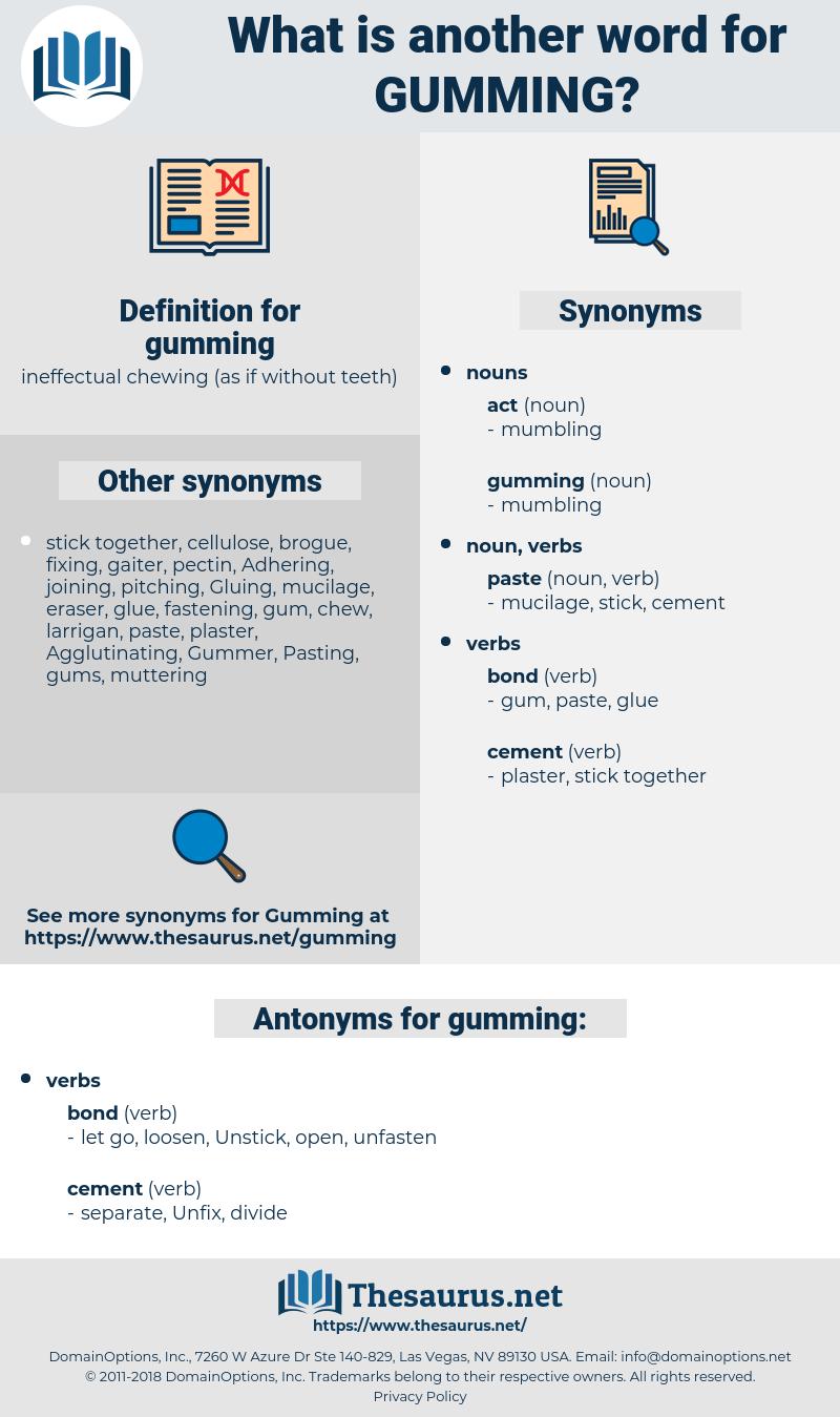gumming, synonym gumming, another word for gumming, words like gumming, thesaurus gumming