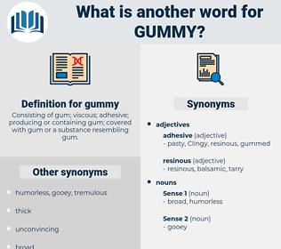 gummy, synonym gummy, another word for gummy, words like gummy, thesaurus gummy