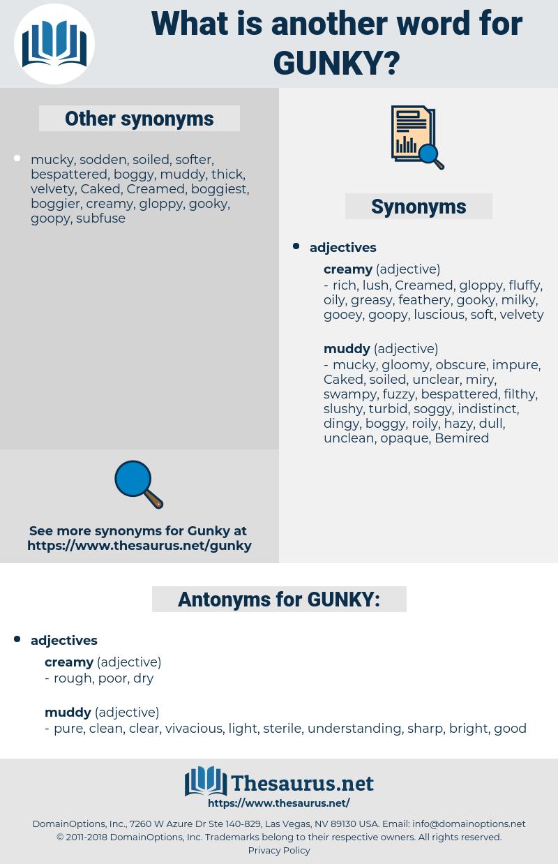 GUNKY, synonym GUNKY, another word for GUNKY, words like GUNKY, thesaurus GUNKY