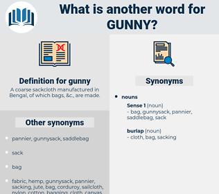 gunny, synonym gunny, another word for gunny, words like gunny, thesaurus gunny
