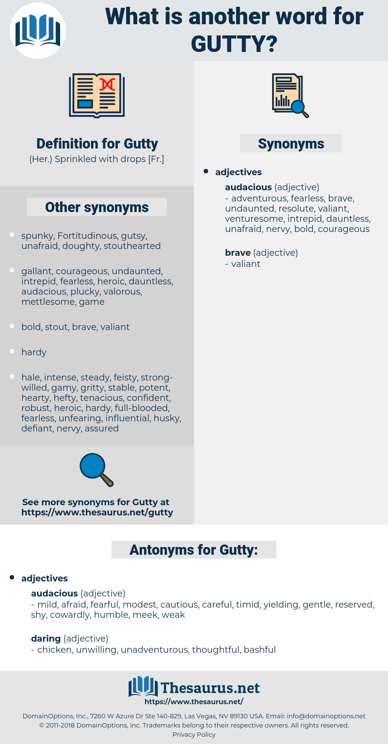 Gutty, synonym Gutty, another word for Gutty, words like Gutty, thesaurus Gutty