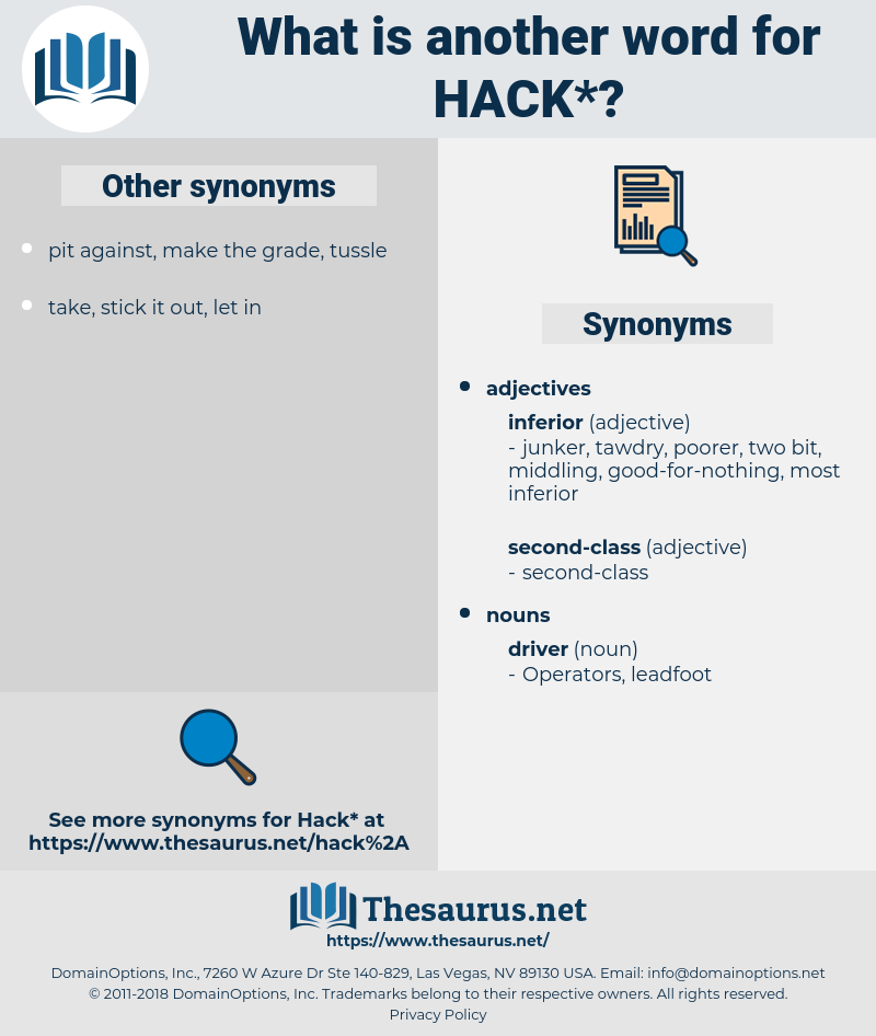 hack, synonym hack, another word for hack, words like hack, thesaurus hack