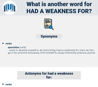 had a weakness for, synonym had a weakness for, another word for had a weakness for, words like had a weakness for, thesaurus had a weakness for