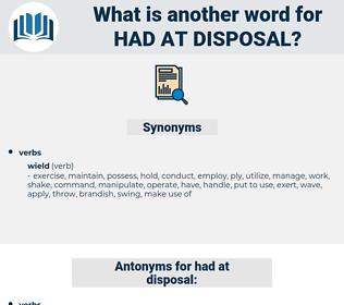had at disposal, synonym had at disposal, another word for had at disposal, words like had at disposal, thesaurus had at disposal