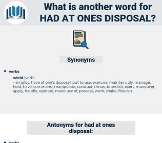 had at ones disposal, synonym had at ones disposal, another word for had at ones disposal, words like had at ones disposal, thesaurus had at ones disposal