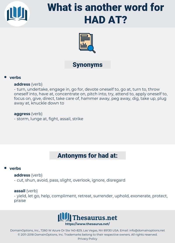 had at, synonym had at, another word for had at, words like had at, thesaurus had at