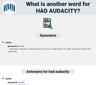 had audacity, synonym had audacity, another word for had audacity, words like had audacity, thesaurus had audacity