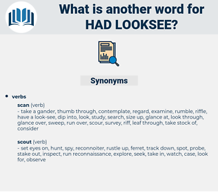 had looksee, synonym had looksee, another word for had looksee, words like had looksee, thesaurus had looksee