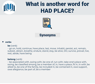 had place, synonym had place, another word for had place, words like had place, thesaurus had place
