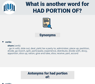 had portion of, synonym had portion of, another word for had portion of, words like had portion of, thesaurus had portion of