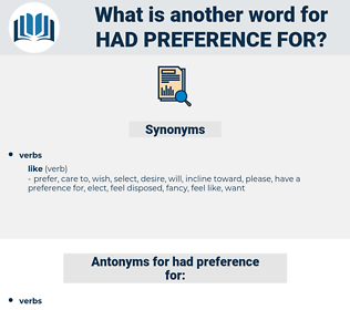 had preference for, synonym had preference for, another word for had preference for, words like had preference for, thesaurus had preference for