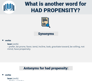 had propensity, synonym had propensity, another word for had propensity, words like had propensity, thesaurus had propensity