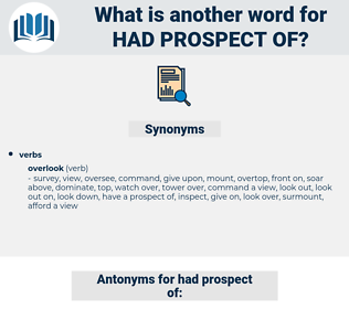 had prospect of, synonym had prospect of, another word for had prospect of, words like had prospect of, thesaurus had prospect of