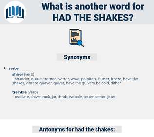 had the shakes, synonym had the shakes, another word for had the shakes, words like had the shakes, thesaurus had the shakes