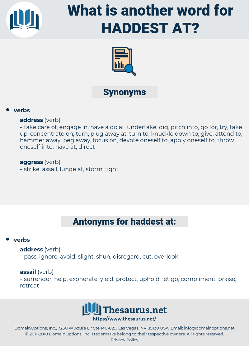 haddest at, synonym haddest at, another word for haddest at, words like haddest at, thesaurus haddest at