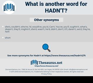 hadn't, synonym hadn't, another word for hadn't, words like hadn't, thesaurus hadn't