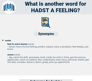 hadst a feeling, synonym hadst a feeling, another word for hadst a feeling, words like hadst a feeling, thesaurus hadst a feeling