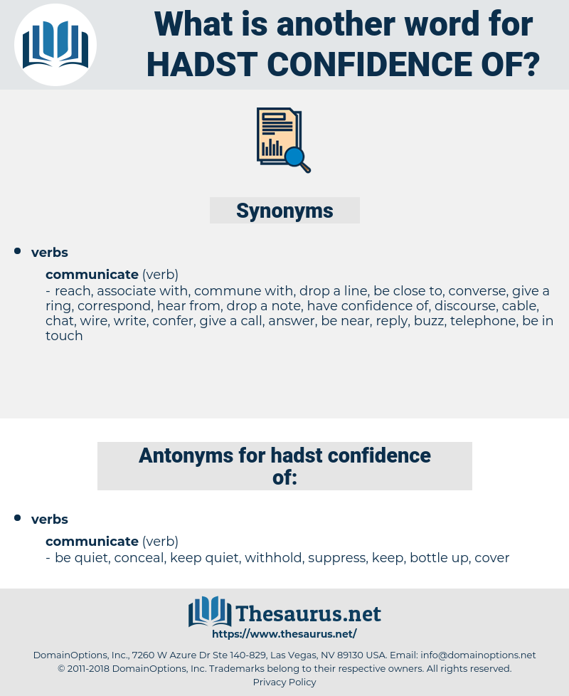 hadst confidence of, synonym hadst confidence of, another word for hadst confidence of, words like hadst confidence of, thesaurus hadst confidence of