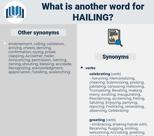 hailing, synonym hailing, another word for hailing, words like hailing, thesaurus hailing
