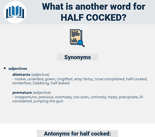half-cocked, synonym half-cocked, another word for half-cocked, words like half-cocked, thesaurus half-cocked
