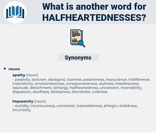 halfheartednesses, synonym halfheartednesses, another word for halfheartednesses, words like halfheartednesses, thesaurus halfheartednesses