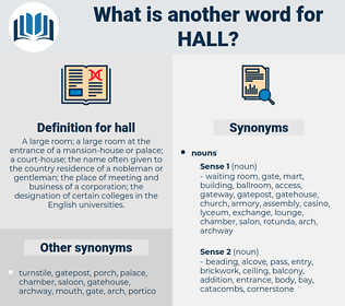 hall, synonym hall, another word for hall, words like hall, thesaurus hall