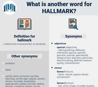 hallmark, synonym hallmark, another word for hallmark, words like hallmark, thesaurus hallmark