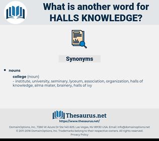 halls knowledge, synonym halls knowledge, another word for halls knowledge, words like halls knowledge, thesaurus halls knowledge