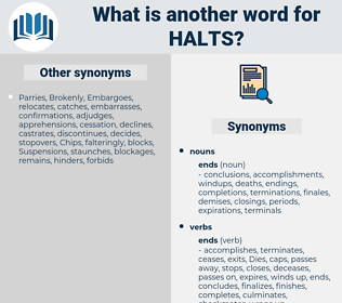 halts, synonym halts, another word for halts, words like halts, thesaurus halts